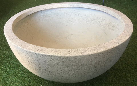 Wide Light Beige Crushed Stone Bowl