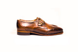 side view single monk strap brogues goodyear welted
