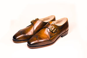 lateral single monk strap brogues goodyear welted