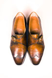 top view single monk strap brogues goodyear welted brown