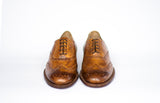 front view handmade leather shoes in tobacco