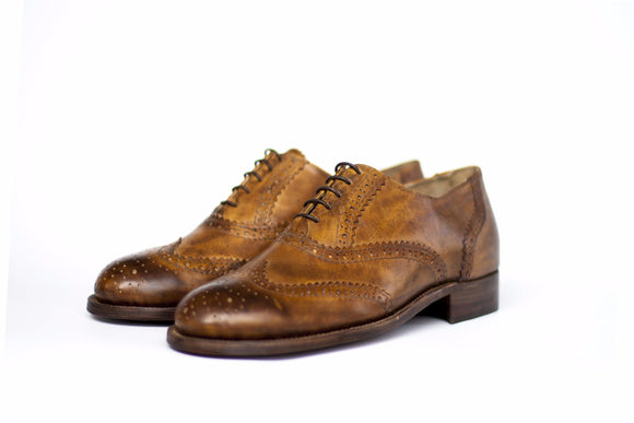 Handmade Tobacco Oxford Brogues side view wingtips