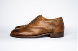 wingtips Handmade Tobacco Oxford Brogues leather side view
