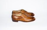 side view Handmade brown tobacco Oxford shoes
