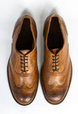 top view Handmade Tobacco Oxford shoes made with leather