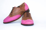 Pink and brown oxford handmade shoes for women, wingtips with medallion in pink, made with Greek leather