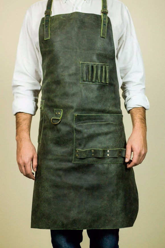 handmade leather apron in dark green color with pockets