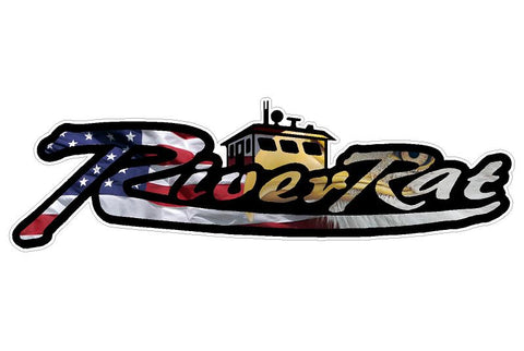 LARGE Eagle Flag River Rat Decal