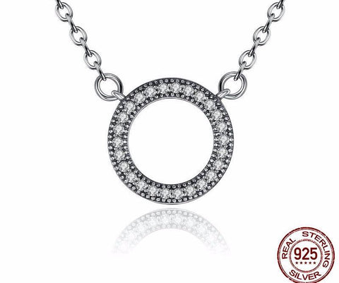 Silver Hearts Clear Round Shaped Necklaces for Women