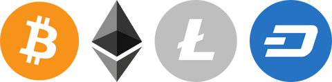 Cryptocurrency Logos | Digital Currency | Bitcoin, Litecoin, Dash, Ethereum.
