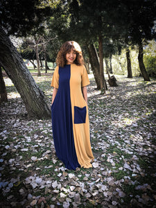 Contrast maxi navy and mustard