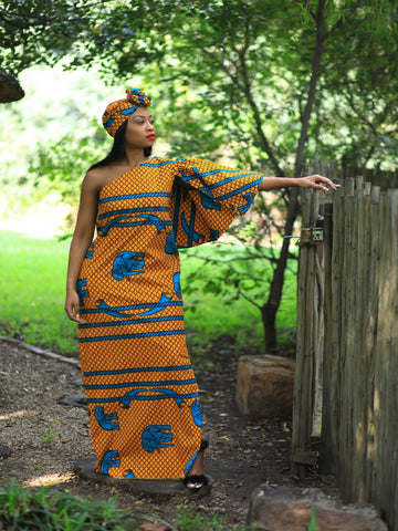 One Shoulder African Print (excluding headwrap) - Sale Item