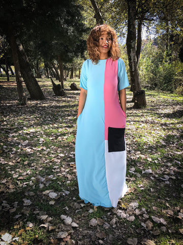 Contrast Maxi Blue and Pink
