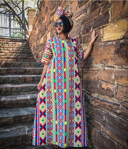 Tribal Maxi Dress (Incl Headwrap)