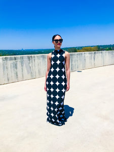 Sleeveless Polka B&W Maxi