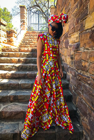 Aztec Printed Maxi Red (Excl headwrap)