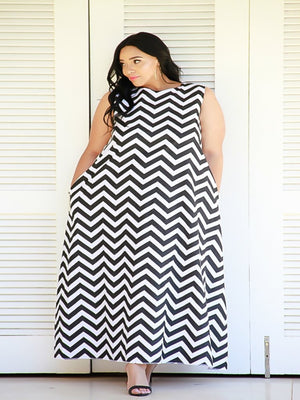 Sleeveless Chevron Maxi Black