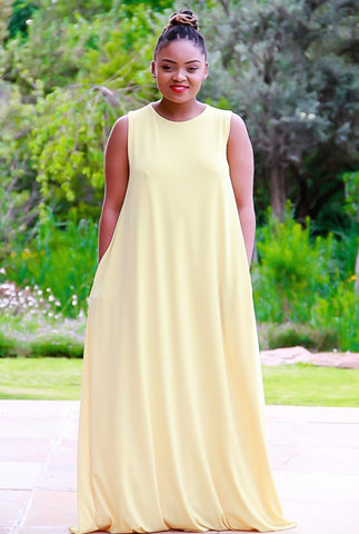 Sleeveless Stretch Yellow Maxi