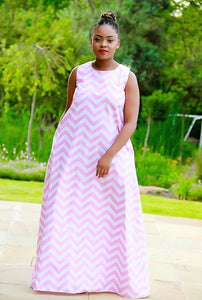 Sleeveless Chevron Pastel Pink