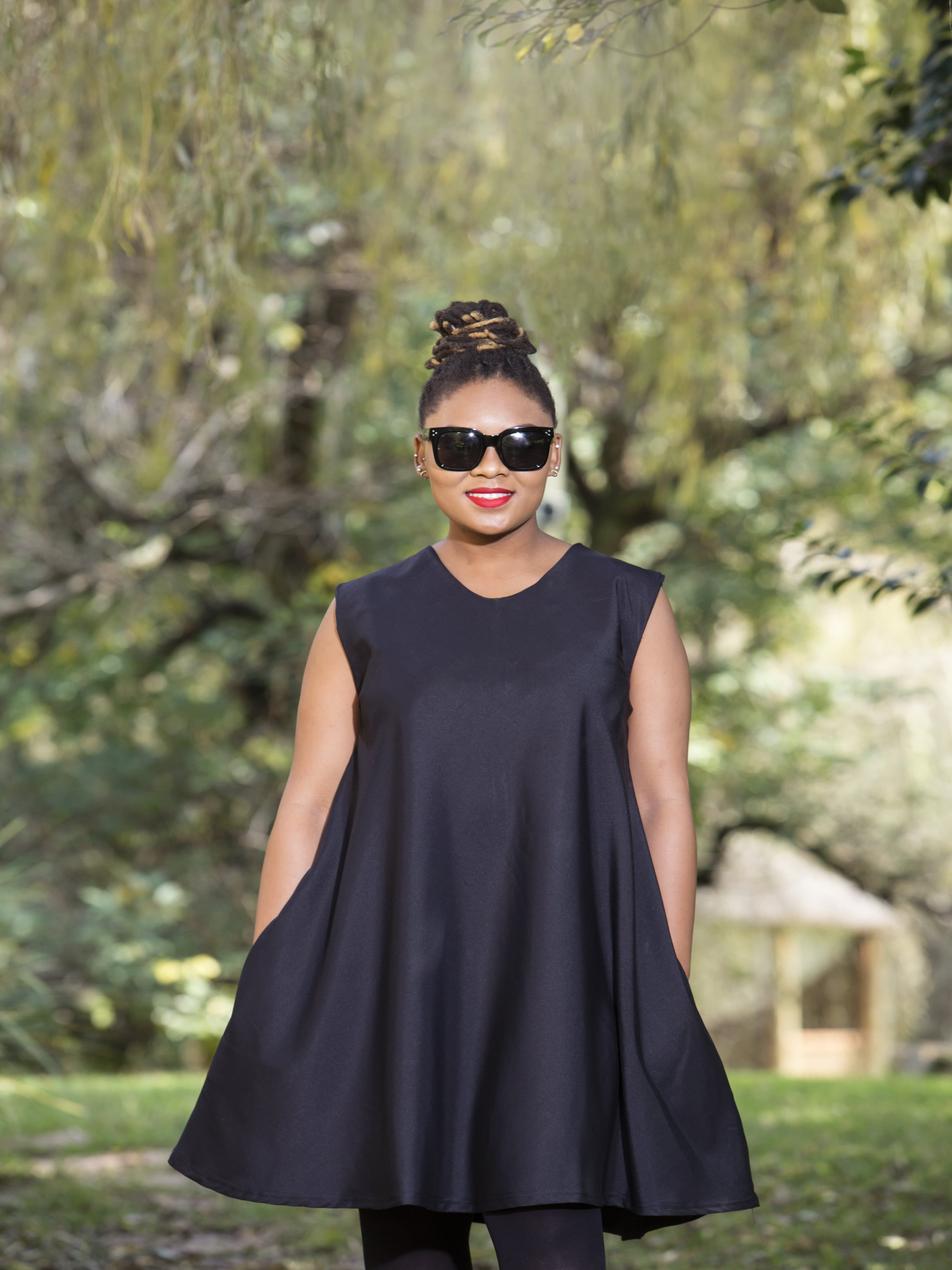 Sleeveless Suited Tent Dress Black
