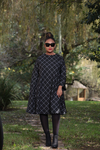 Suited Tent Dress Black