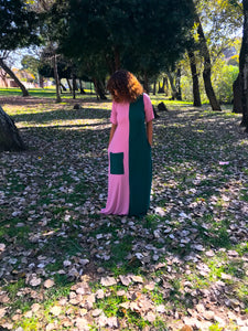 Contrast Maxi Pink & Olive Green
