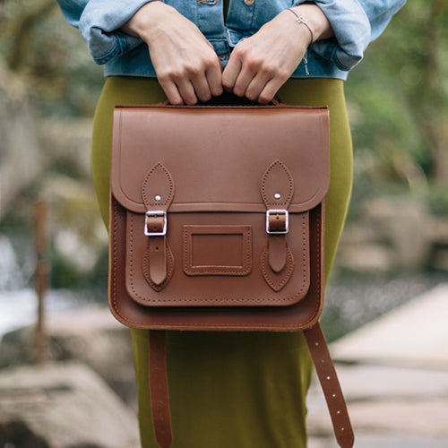 Women's Vintage Brown Leather Small Portrait Backpack by Cambridge Satchel