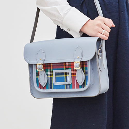 Grey Tartan Leather Satchel Work Bag by The Cambridge Satchel Company