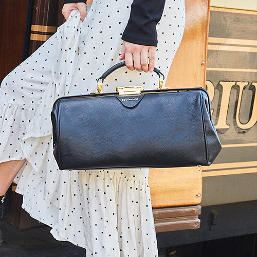Black Leather Doctors Handbag by The Cambridge Satchel Company