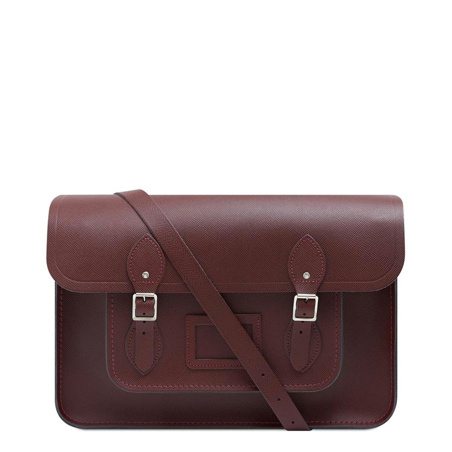 15 Inch Classic Satchel in Leather - Oxblood Saffiano
