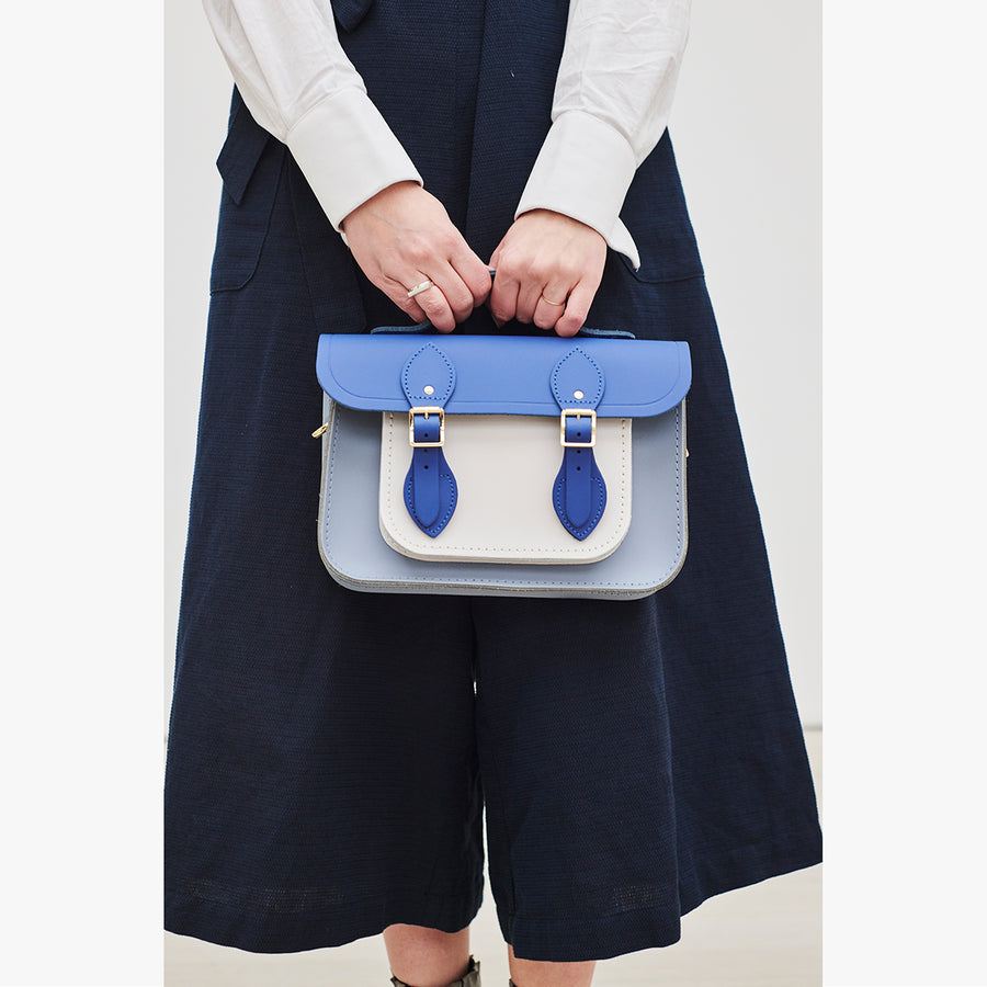 Womens-11 Inch Magnetic Batchel in Leather - Italian Blue Matte, French Grey & Clay | Cambridge Satchel