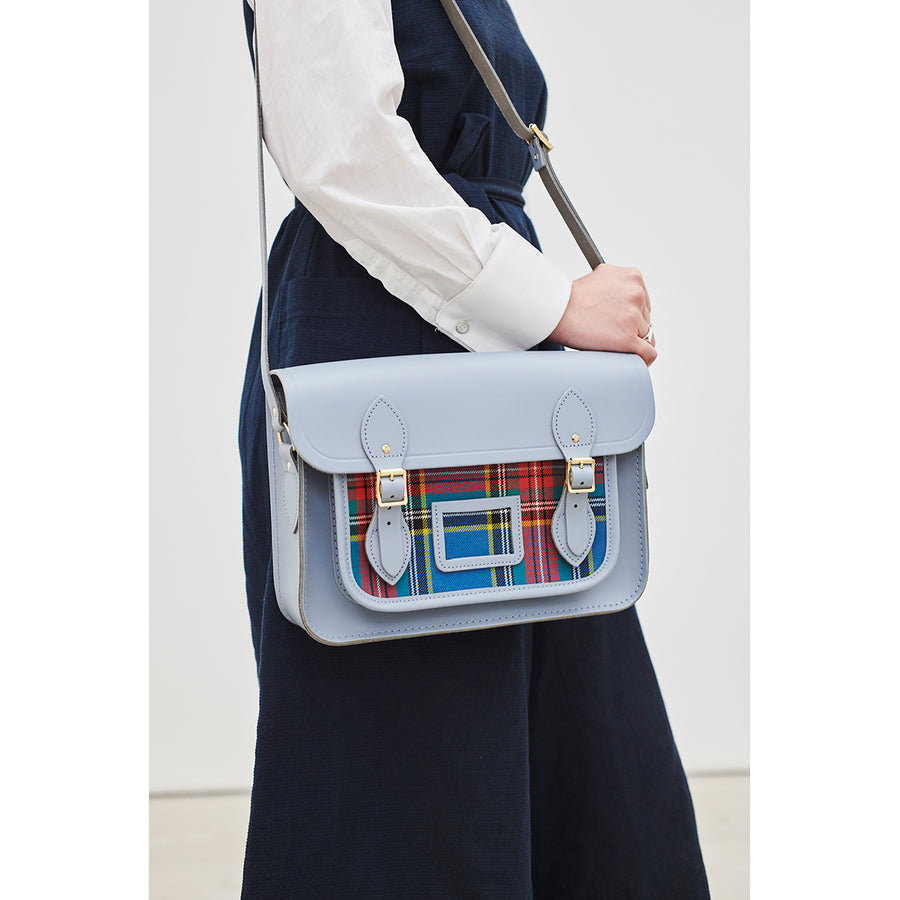 Womens-13 Inch Magnetic Satchel in Leather - French Grey with Tartan Pocket | Cambridge Satchel