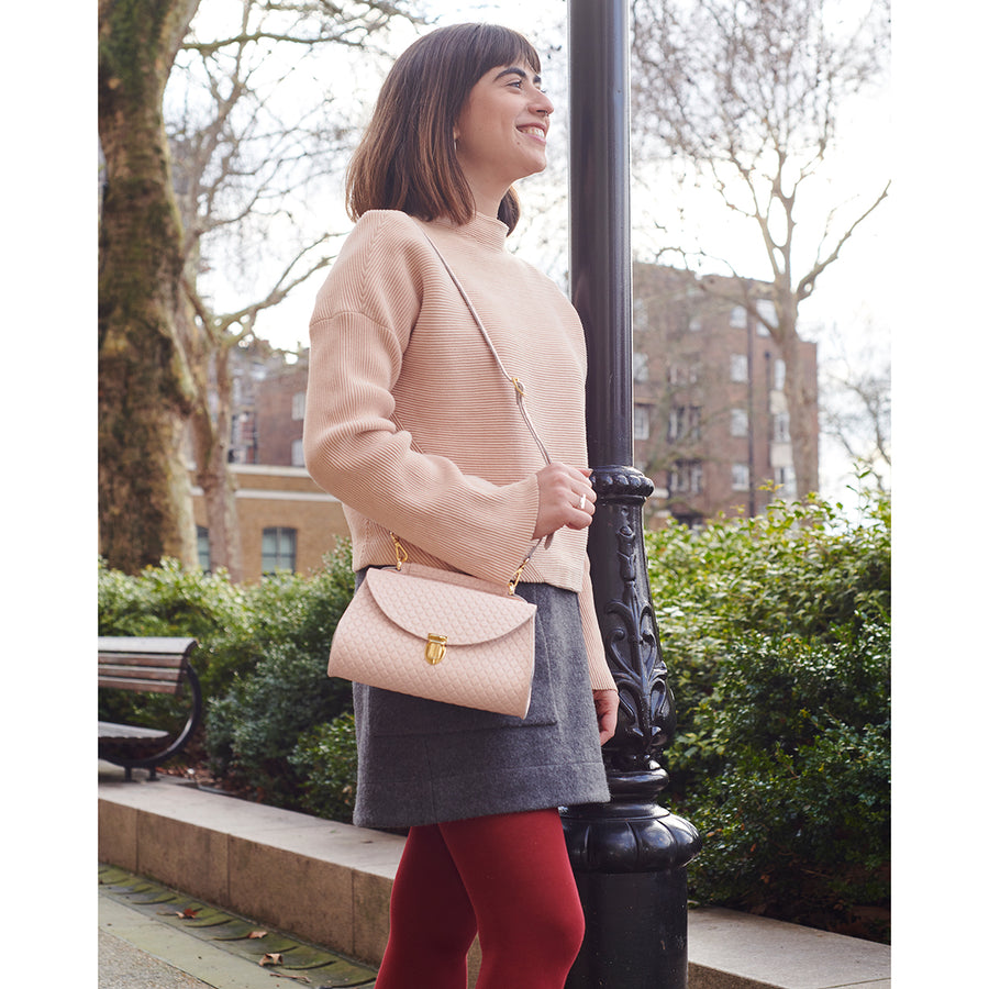 Mini Poppy Bag in Leather - Cloud Pink Matte Quilt | Cambridge Satchel