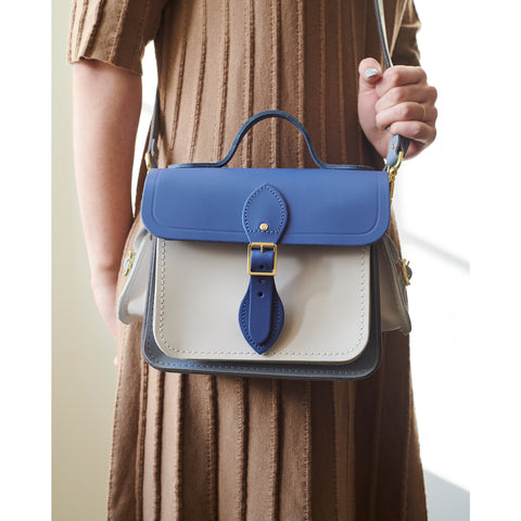 f8301e9972d Traveller Bag with Side Pockets in Leather - Italian Blue Matte, French  Grey   Clay