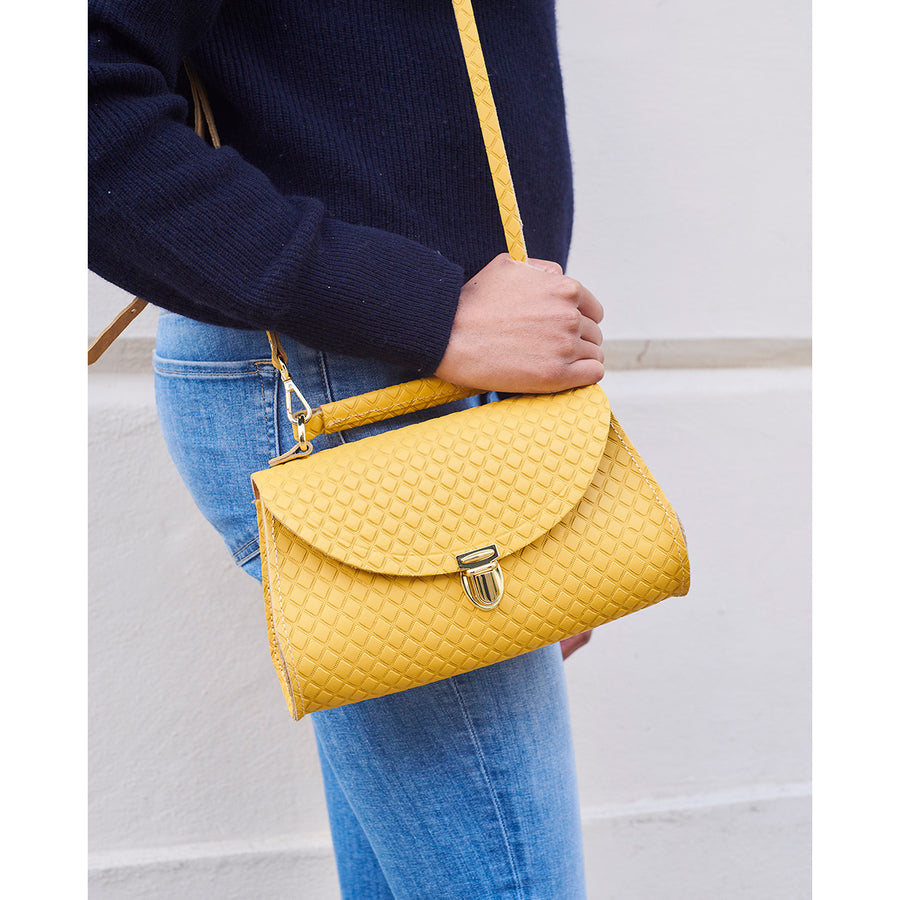 Mini Poppy Bag in Leather - Indian Yellow Matte Quilt | Cambridge Satchel