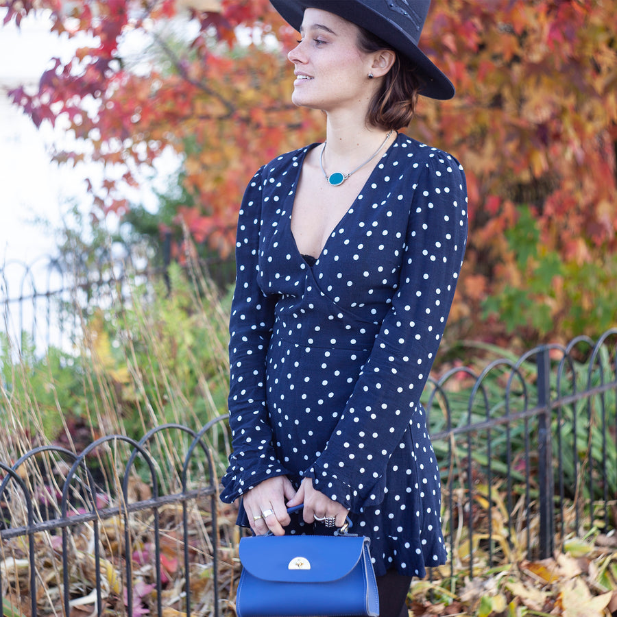 Womens | Mini Daisy Bag in Leather - Italian Blue Matte | Cambridge Satchel
