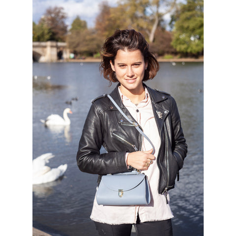 Womens | Mini Poppy Bag in Leather - French Grey Saffiano | Cambridge Satchel