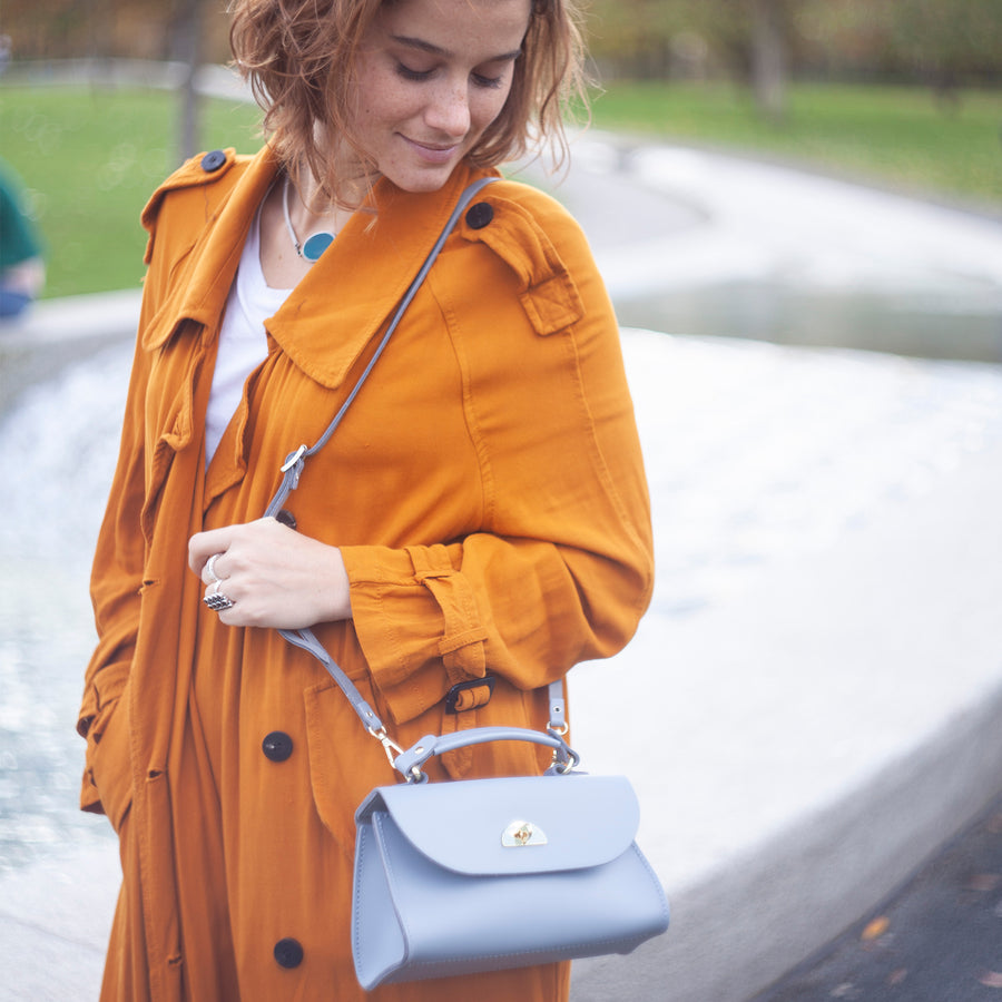 Womens | Mini Daisy Bag in Leather - French Grey | Cambridge Satchel