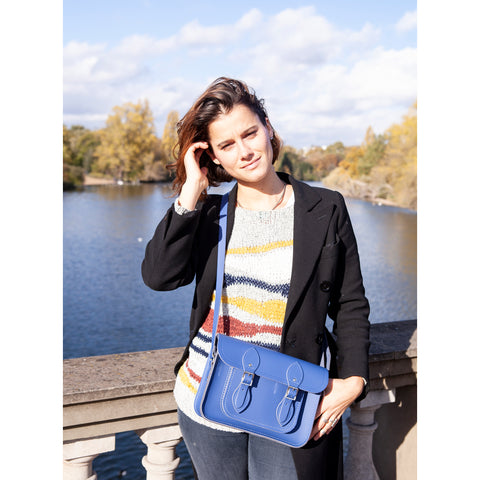 Womens- 11 Inch Magnetic Satchel in Leather - Italian Blue Matte