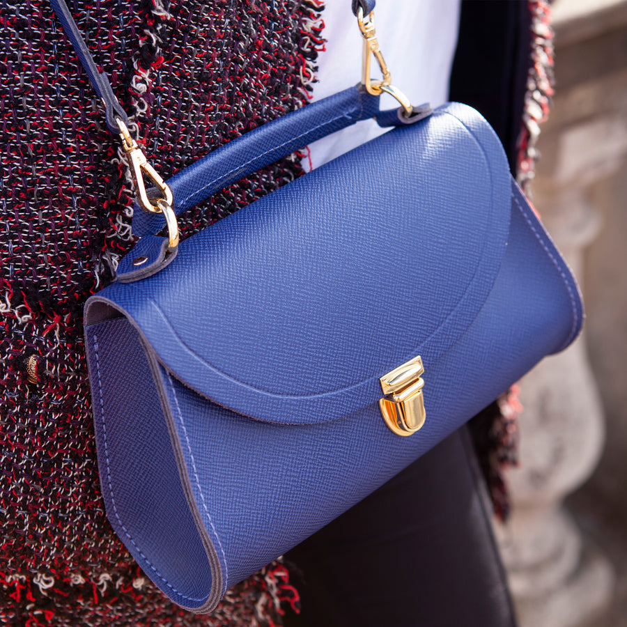 Womens - Mini Poppy Bag in Leather - Italian Blue Saffiano - Cambridge Satchel
