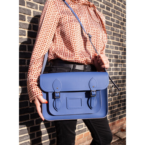 Womens- 13 Inch Magnetic Satchel in Leather - Italian Blue Matte