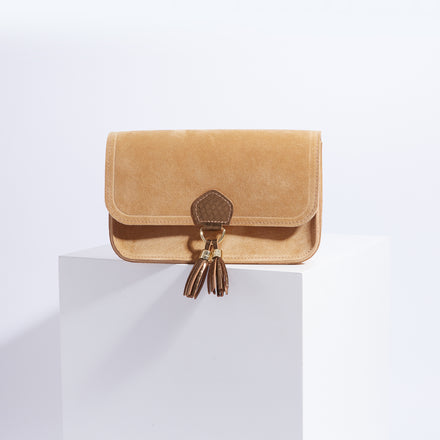 May Ball Clutch Bag - Honey Suede