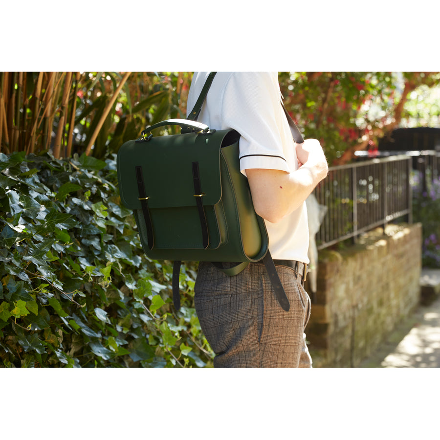 Bridge Closure Backpack in Leather - Racing Green & Black Bridle