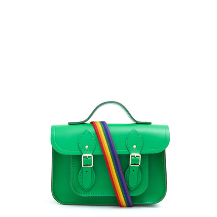 11 Inch Magnetic Batchel in Leather - Green & Rainbow Webbing Strap | Cambridge Satchel Company