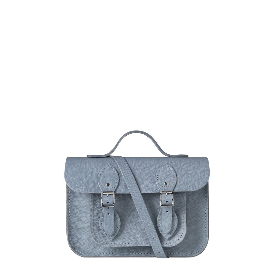 French Grey Leather Cambridge Satchel Bag