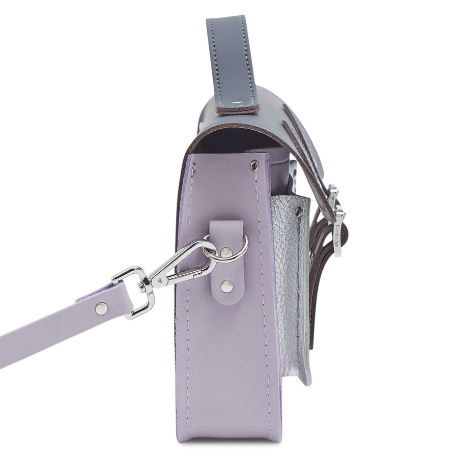 11 Inch Magnetic Batchel in Leather - Storm Matte, Parma Violet Matte & Silver Celtic Grain
