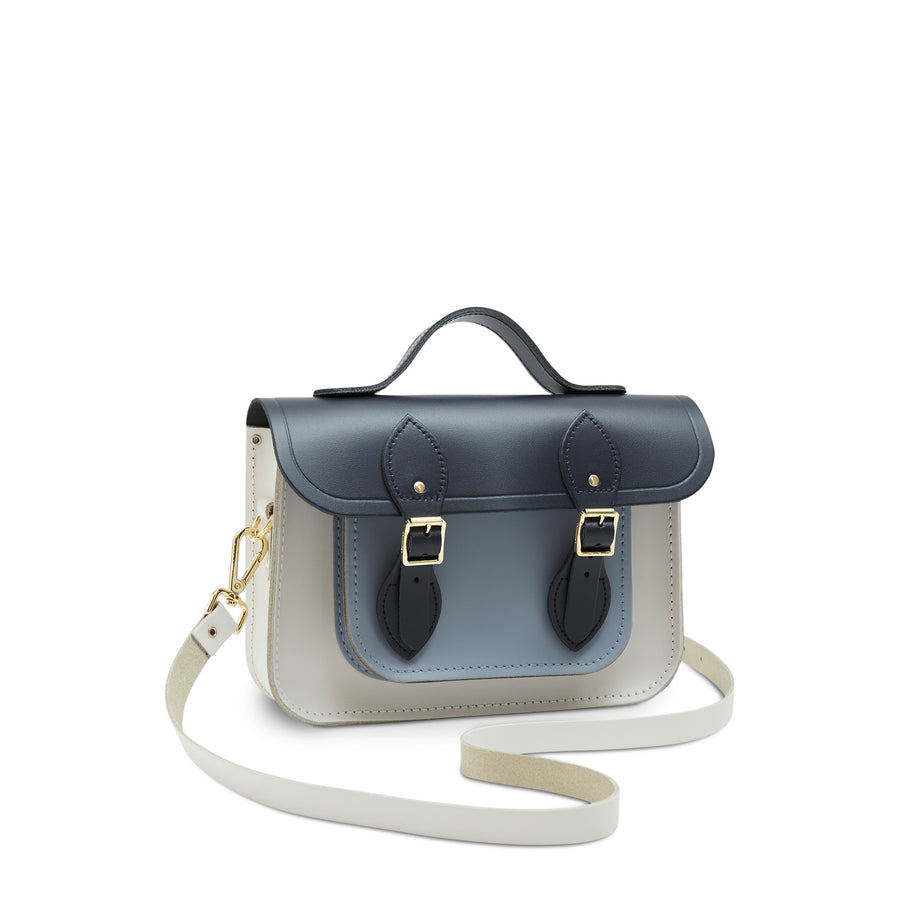 11 Inch Magnetic Batchel in Leather - Navy, Lily White & French Grey