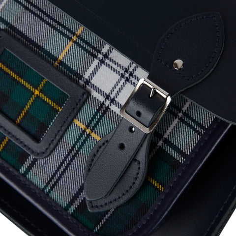 13 Inch Batchel with Magnetic Closure - Navy with Green Tartan