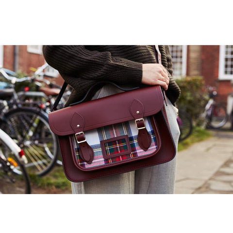 Womens- 13 Inch Batchel with Magnetic Closure - Oxblood with Red Tartan