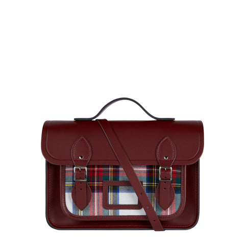 13 Inch Batchel with Magnetic Closure - Oxblood with Red Tartan - Cambridge Satchel